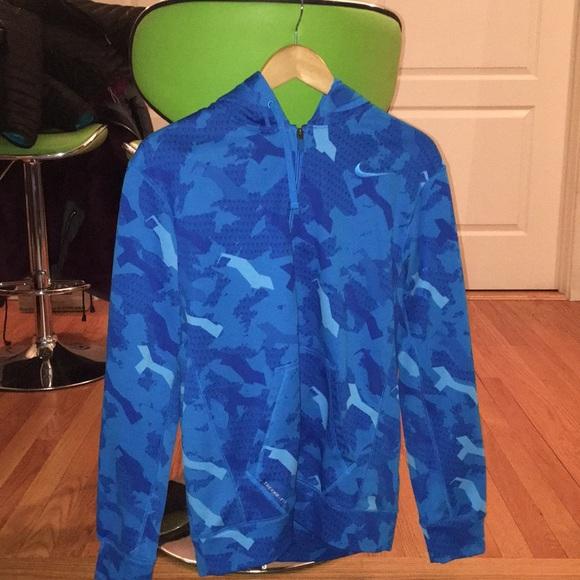 Men's Nike blue camo thermo full zip hoodie
